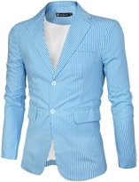 uxcell Allegra K Men Notched Lapel Single Breasted Slim Fit Stripes Blazer XL