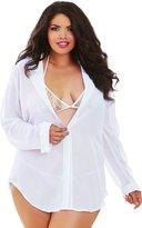 Dreamgirl Women's Plus Size Sheer Chiffon Shirt Style Robe Set