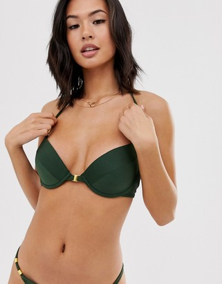 New Look underwired bikini top in dark khaki-Green