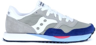 Saucony Dxn Trainer Sneaker In Light Grey And Blue Navy Suede