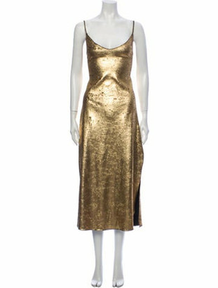 Dannijo Scoop Neck Long Dress Gold