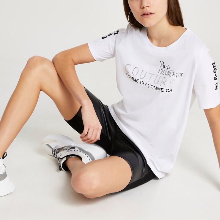 Thumbnail for your product : River Island Womens White RI Couture boyfriend t-shirt