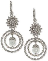 Marchesa Silver-Tone Crystal and Imitation Pearl Orbital Drop Earrings