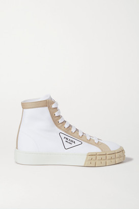 Prada Logo-print Two-tone Gabardine High-top Sneakers - White