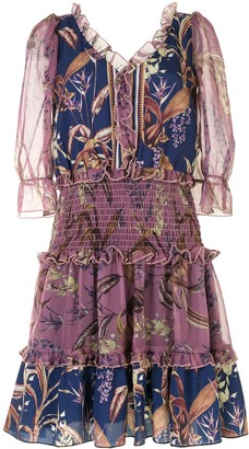 Marchesa Notte Floral Print Smocked Waist Dress
