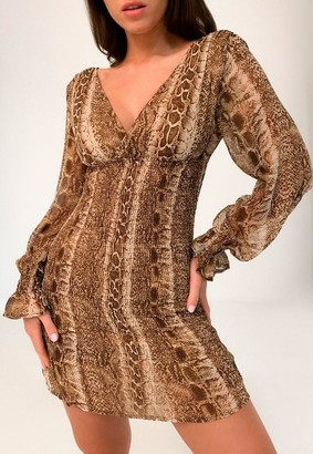 Missguided Brown Snake Print Shirred V Neck Mini Dress