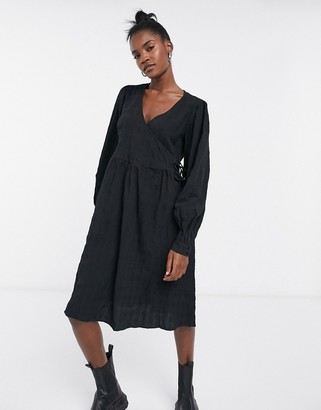 Noisy May textured wrap dress in black