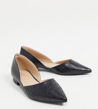 Raid Wide Fit Harvey two part flat shoes in black croc