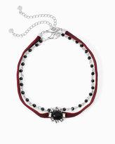 White House Black Market Velvet Bead Choker Necklace Set
