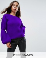 Boohoo Petite Balloon Sleeve Rib Knitted Jumper