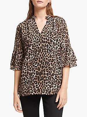 Michael Kors MICHAEL Cheetah Bell Sleeve Blouse, Dark Camel