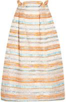 Roksanda Jenna Woven Metallic Raffia Midi Skirt - Pastel orange