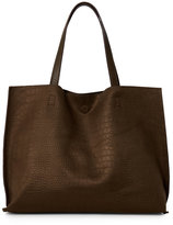 Street Level Olive Croc Embossed Reversible Tote