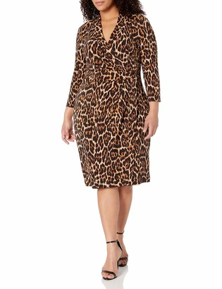 Anne Klein Women's Plus Size Animal Print WRAP Dress