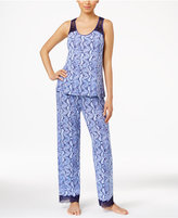 Thalia Sodi Lace-Trimmed Peekaboo-Back Printed Knit Pajama Set, Only at Macy's