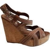 Miu Miu tan leather wedge sandals