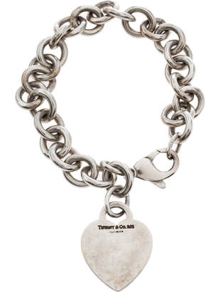 Tiffany & Co. Plain Heart Tag Silver Chain Link Bracelet