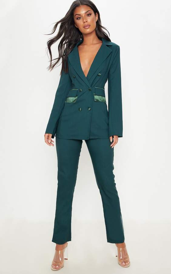 PrettyLittleThing Dark Green Woven Suit Trousers