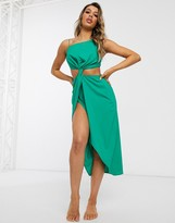 Asos Design DESIGN cut out beach dress with tab detail in chiffon jewel green