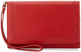 Neiman Marcus Leather Cell Phone Wristlet Wallet, Red