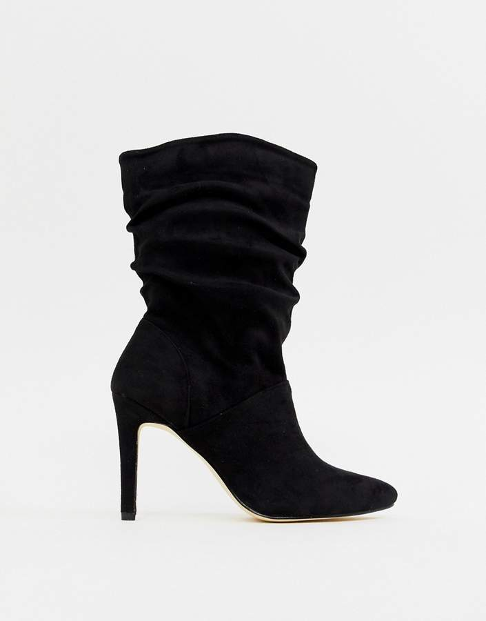 London Rebel Rouched Stiletto Boots