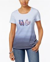 Karen Scott Striped Flip-Flop Graphic Top, Only at Macy's