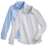 Jockey Womens Button Front Crinkle Woven Blouse Tops Shirts polyester