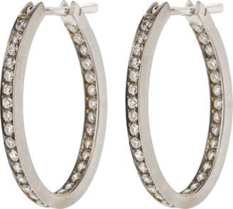 Sylva & Cie Diamond Oval Hoop Earrings