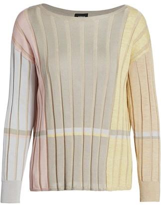 Akris Variazoni Striped Silk & Linen Knit Sweater
