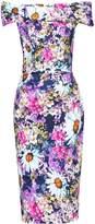 Jolie Moi Retro Floral Print Bardot Dress