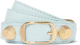Balenciaga Giant Triple Tour Textured-leather And Gold-tone Bracelet - Turquoise