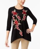 JM Collection Petite Floral-Appliqué Top, Created for Macy's