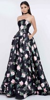 Mac Duggal A-Line Strapless Floral Printed Mikado Ball Gown
