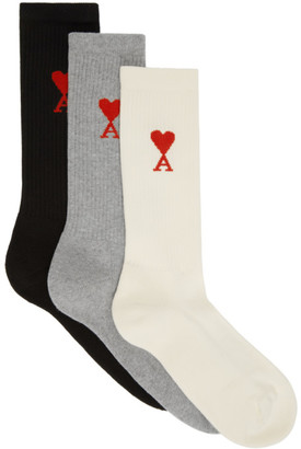 Ami Alexandre Mattiussi Three-Pack Multicolor Ami De Coeur Socks