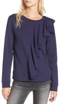 Hinge Women's Asymmetrical Ruffle Sweatshirt