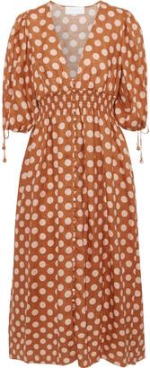 Zimmermann Shirred Polka-dot Linen Midi Dress