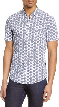 BOSS Robb Slim Fit Mini Floral Short Sleeve Button-Up Performance Shirt