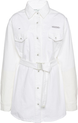 Off-White Cotton Mini Shirt Dress