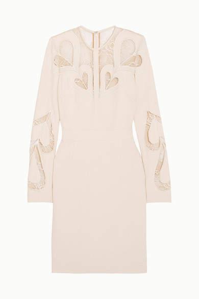 Elie Saab Lace-paneled Crepe Dress - Ivory