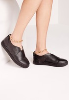 Missguided Chain Ankle Strap Skater Pumps Black