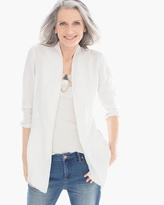 Chico's Embroidered Linen Drape Jacket