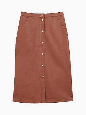 Oasis Faux Leather Button Front Midi Skirt, Tan