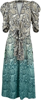 AFRM Ellis Snake Print Dip Dye Midi Dress