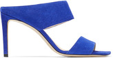 Jimmy Choo HIRA 85 Cobalt Suede Mules with Double Straps