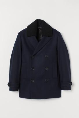H&M Wool-blend Pea Coat - Blue