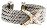 Charriol Two-Tone Diamond X Cable Open Ring