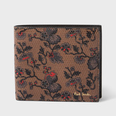 Paul Smith Men's Brown Leather 'Logan Floral' Print Billfold Wallet