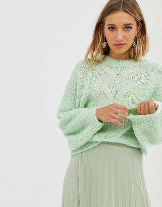 Asos DESIGN cable sweater in lofty yarn with volume sleeve