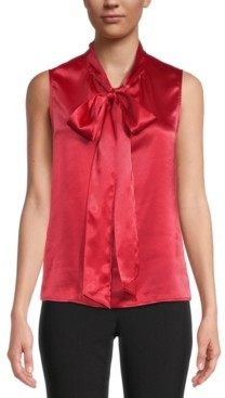 Kasper Satin Sleeveless Bow-Neck Blouse