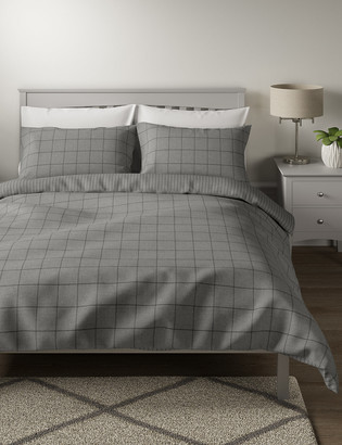 Marks and Spencer Brushed Cotton Checked Bedding Set